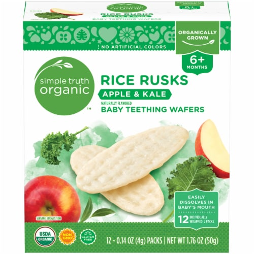 Simple Truth Organic™ Rice Rusks Apple & Kale Baby Teething Wafers Packs 12 Count Perspective: front