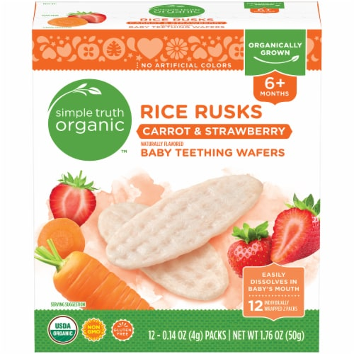 Simple Truth Organic™ Rice Rusks Carrot & Strawberry Baby Teething Wafers Perspective: front