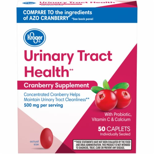 Kroger® Cranberry Urinary Tract Health Supplement Caplets 500mg Perspective: front