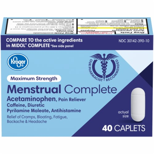Kroger® Maximum Strength Menstrual Complete Pain Reliever Caplets Perspective: front