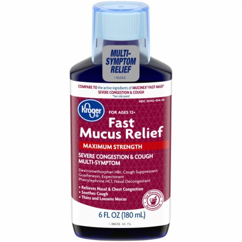 Kroger® Fast Mucus Relief Maximum Strength Severe Congestion & Cough Liquid Perspective: front
