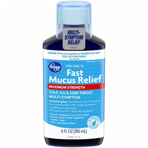Kroger® Fast Mucus Relief Maximum Strength Cold Flu & Sore Throat Liquid Perspective: front