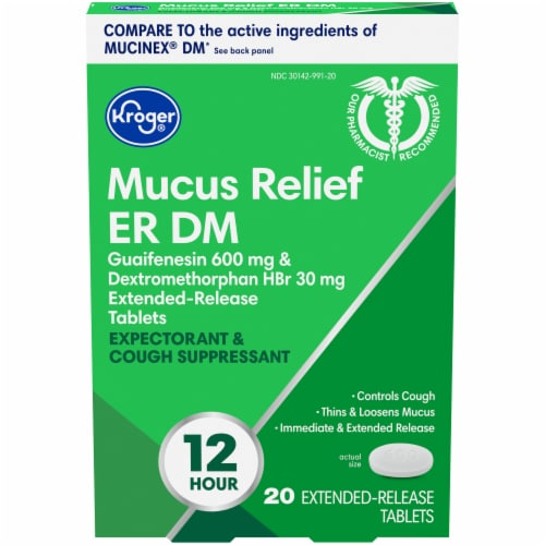 Kroger® Mucus Relief ER DM Extended-Release Tablets Perspective: front