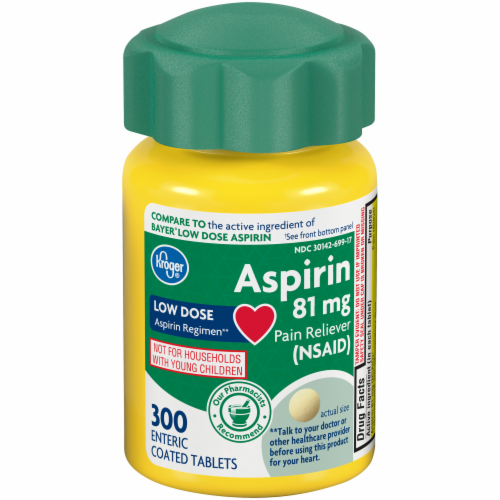Kroger® Low Dose Coated Aspirin Tablets 81mg Perspective: front