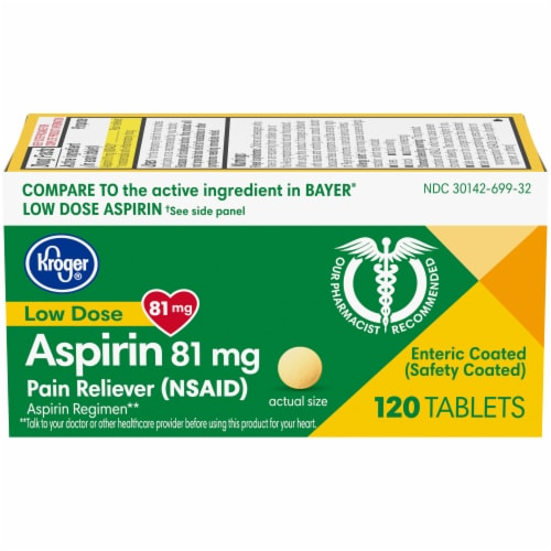 Kroger® Adult Low Dose Coated Aspirin Tablets 81mg Perspective: front