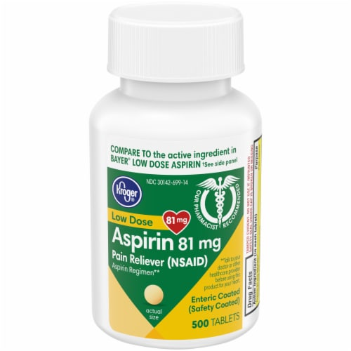 Kroger® Aspirin Enteric Coated Tablets 81mg Perspective: front