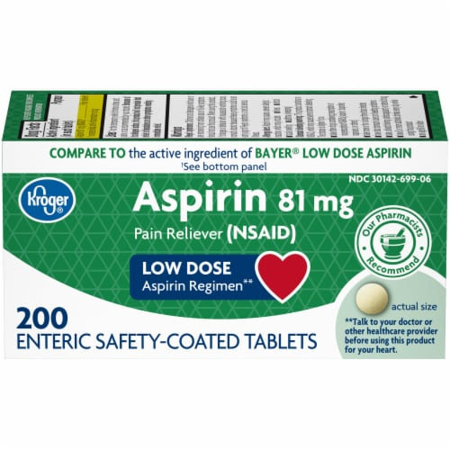 Kroger® Low Dose Aspirin Enteric Safety Coated Tablets 81mg Perspective: front