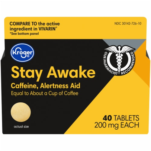 Kroger® Stay Awake Caffeine Tablets 200mg Perspective: front