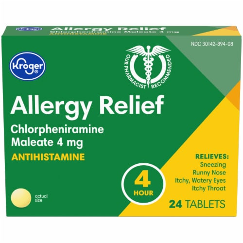 Kroger® 4 Hour Allergy Relief Tablets 4mg Perspective: front