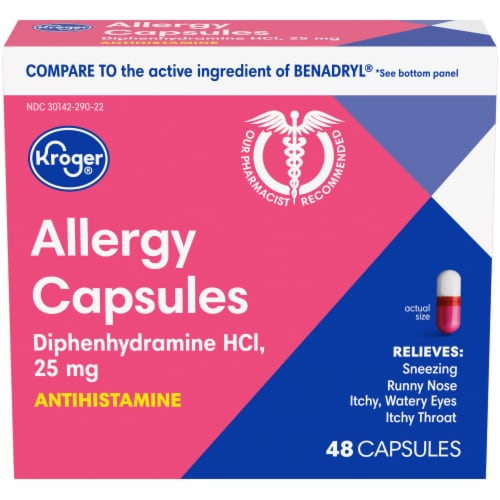 Kroger® Allergy Antihistamine Capsules Box Perspective: front