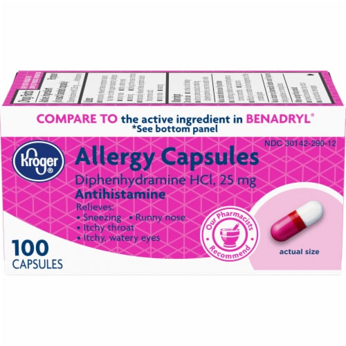 Kroger® Allergy Antihistamine Capsules 25mg Perspective: front