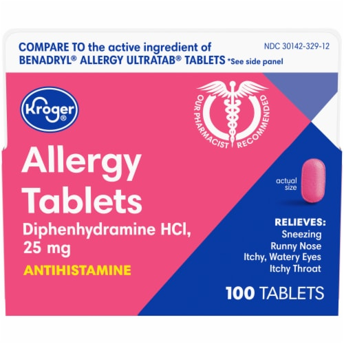 Kroger® Allergy Antihistamine Tablets 25mg Perspective: front