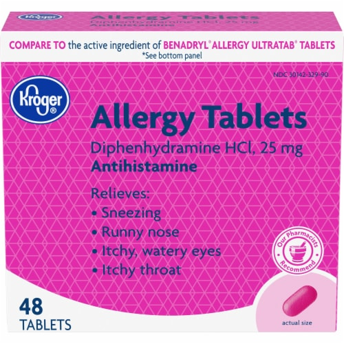 Kroger® Allergy Relief Antihistamine Tablets 25mg Perspective: front