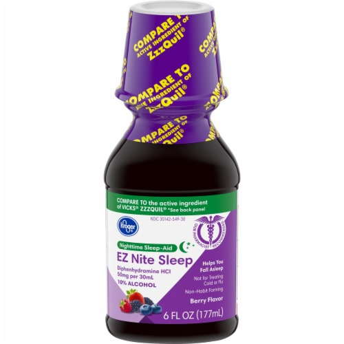 Kroger®  EZ Nite Sleep  Berry Flavor Nighttime Sleepe Aid Bottle Perspective: front