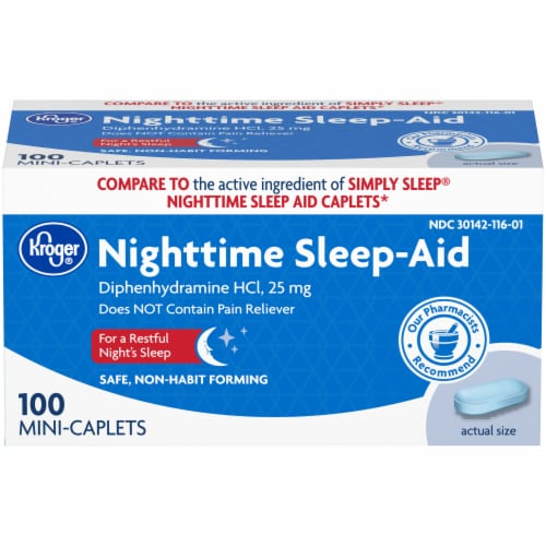 Kroger® Nighttime Sleep Aid Mini-Caplets 25 mg Perspective: front