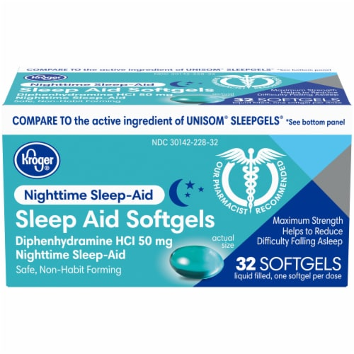 Kroger® Nighttime Sleep Aid Softgels 50mg Perspective: front