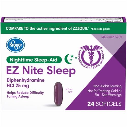 Kroger® EZ Nite Sleep Nighttime Sleep-Aid Softgels 25mg Perspective: front
