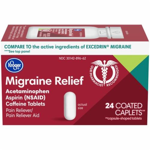 Kroger® Migraine Relief Coated Caplets Perspective: front