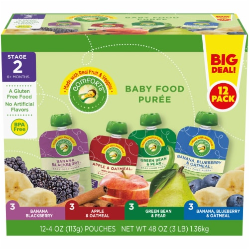Comforts Baby Food Puree Mixed Variety Pouch Perspective: front