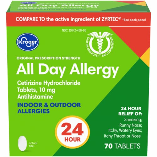 Kroger® All Day Allergy Antihistamine 10mg Tablets Box Perspective: front