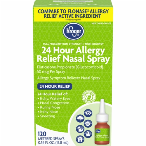 Kroger® 24 Hour Allergy Relief Nasal Spray Bottle Perspective: front
