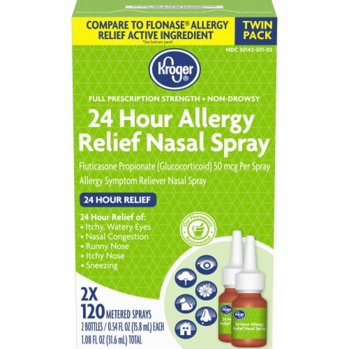 Kroger® 24 Hour Allergy Relief Nasal Spray 2-0.54 fl oz Bottles Perspective: front