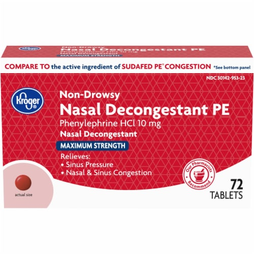 Kroger® Maximum Strength Non-Drowsy Nasal Decongestant PE Tablets 10mg Perspective: front