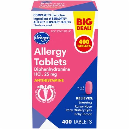 Kroger® Allergy Relief Antihistamine 25mcg Tablets Bottle Perspective: front