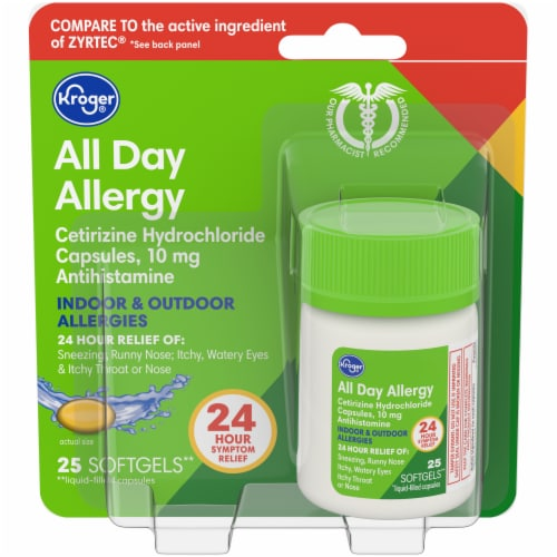 Kroger® All Day Allergy Antihistamine Softgels 10mg Perspective: front