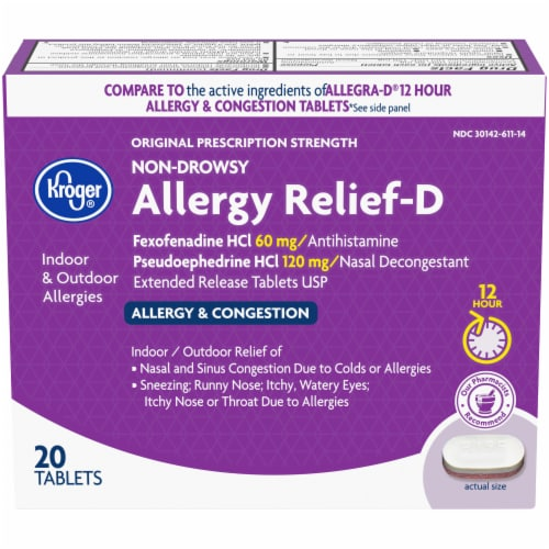 Kroger® Non-Drowsy Allergy Relief-D Tablets 120mg Perspective: front