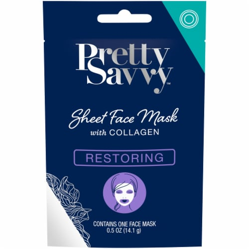 Pretty Savvy Restoring Sheet Face Mask with Collagen Perspective: front