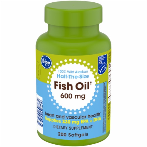 Kroger® Fish Oil Softgels 600mg Perspective: front