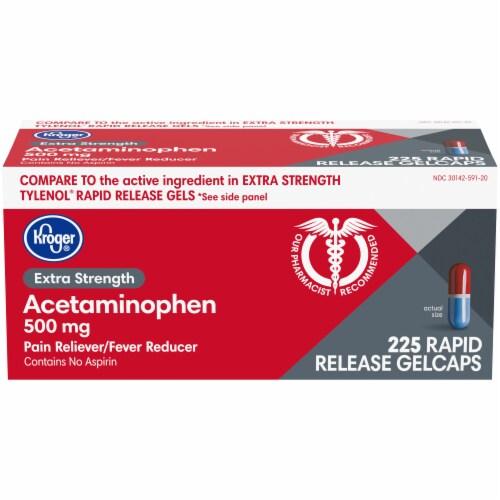 Kroger® Extra Strength Acetaminophen Rapid Release Gelcaps Perspective: front