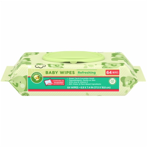 Comforts™ Refreshing Green Tea & Cucumber Scent Baby Wipes Perspective: front