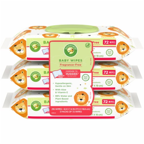 Comforts™ Fragrance Free Baby Wipes 216 Count Perspective: front