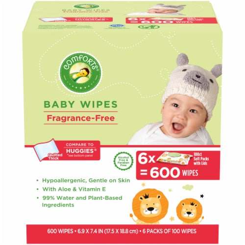 Comforts™ Fragrance-Free Baby Wipes Soft Packs Perspective: front