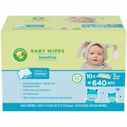 Comforts™ Sensitive Baby Wipes Soft Packs Perspective: front