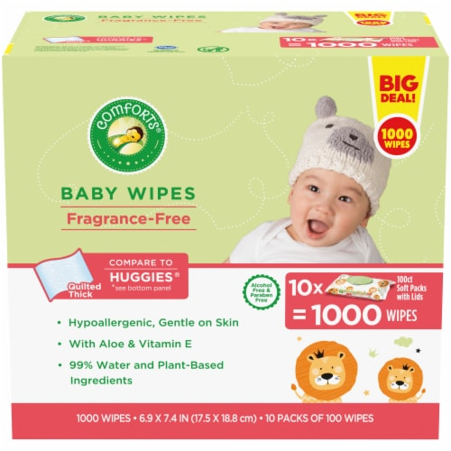 Comforts Fragrance-Free Baby Wipes Soft Packs Perspective: front