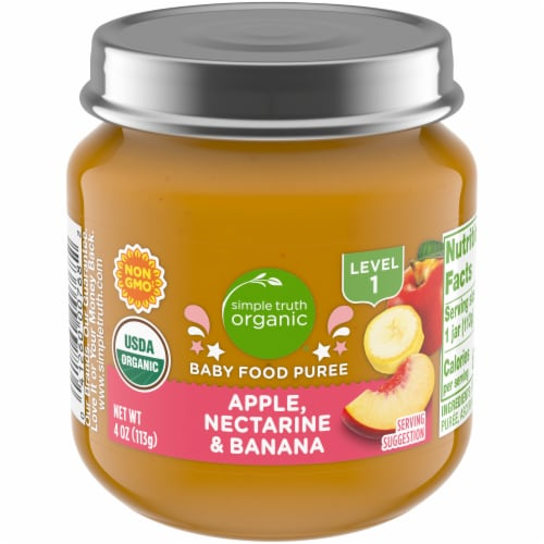 Simple Truth Organic® Apple Nectarine and Banana Baby Food Jar Perspective: front