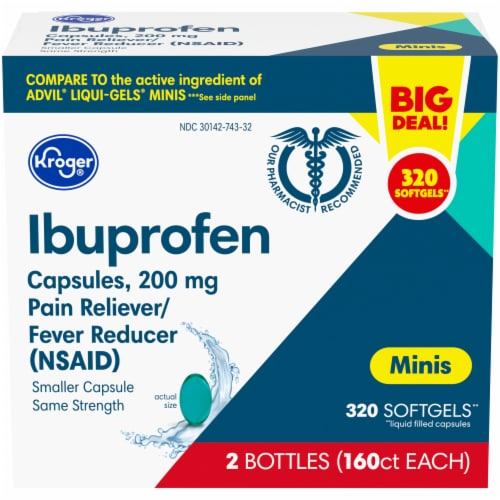 Kroger® Ibuprofen Pain Reliever & Fever Reducer Mini Softgels 200mg Perspective: front