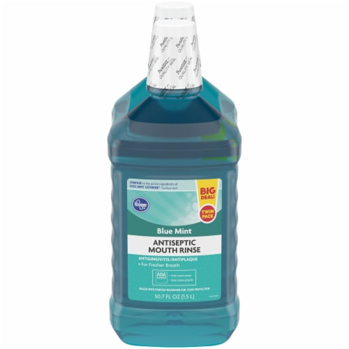 Kroger® Blue Mint Antiseptic Mouth Rinse Perspective: front