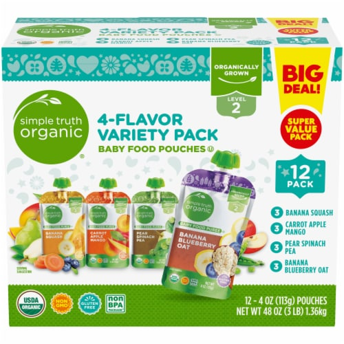 Simple Truth Organic™ 4-Flavor Baby Food Pouches Variety Pack Perspective: front