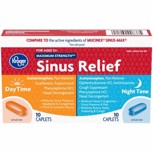 Kroger® Maximum Strength Daytime and Night Time Sinus Relief Perspective: front