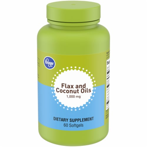 Kroger® Flax and Coconut Oils Softgels 1000mg Perspective: front