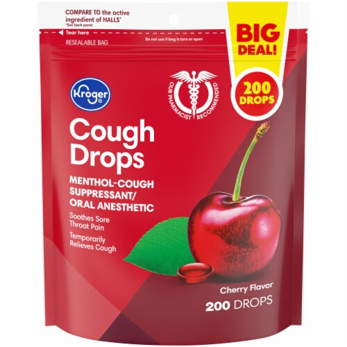 Kroger® Cherry Flavor Cough Suppressant/Oral Anesthetic Drops Perspective: front