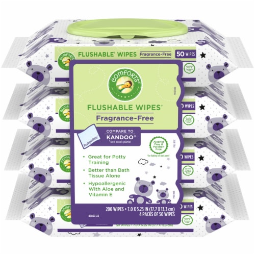 Comforts™ Fragrance-Free Flushable Wipes Perspective: front
