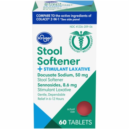 Kroger® Stool Softener + Stimulant Laxative Tablets Perspective: front