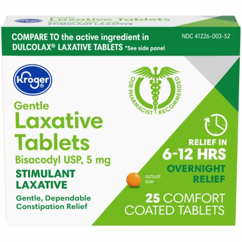 Kroger® Gentle Laxative Comfort Coated Tablets Perspective: front