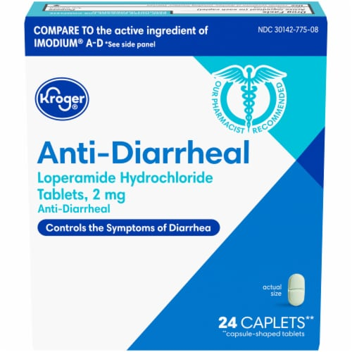 Kroger® Anti-Diarrheal Caplets 2mg Perspective: front