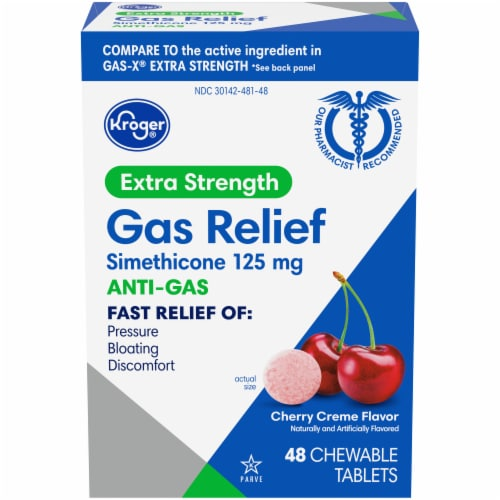 Kroger® Extra Strength Anti-Gas Cherry Creme Chewable Tablets 125mg 48 Count Perspective: front